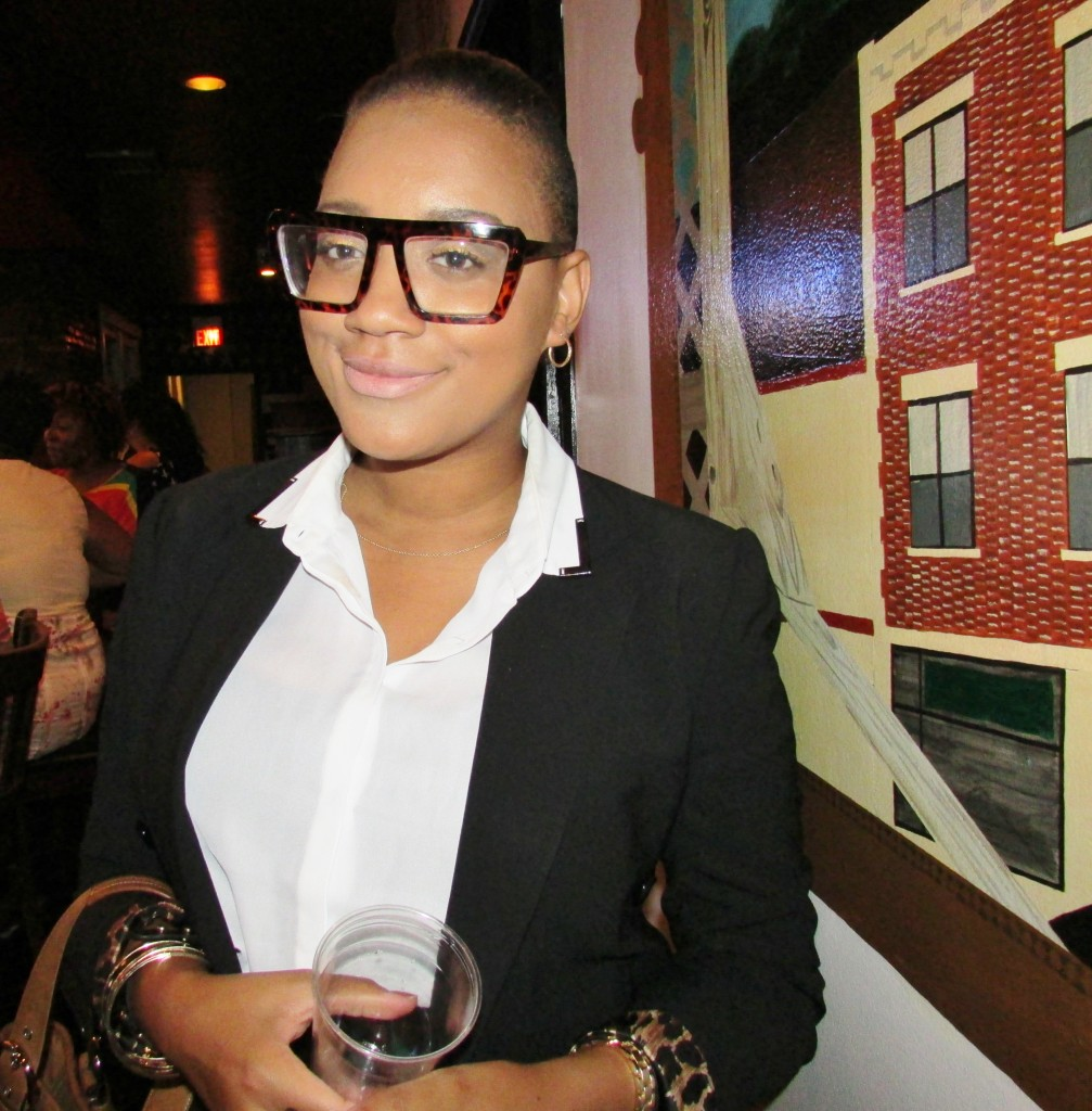Nevermind the dopest glasses on the planet, her face is beat!  She's a makeup artist xoxo