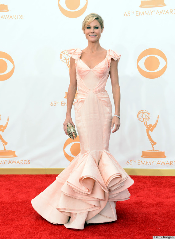 Julie Bowen in Zac Posen (Photo: Getty Images and Huff Post Style)