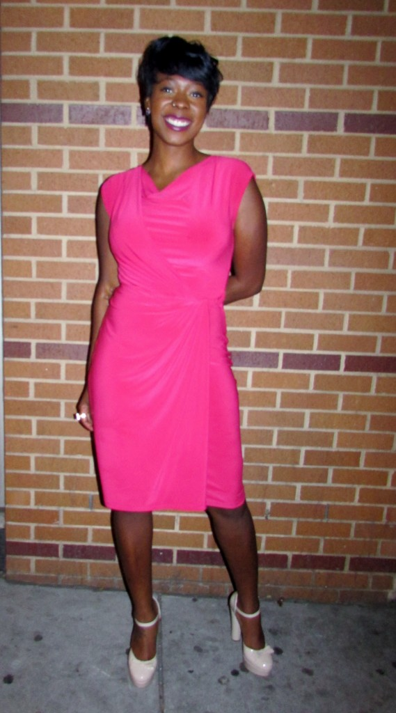 Tabriah - I had to get a close up of the cinched-side dress and the mary-jane nude pumps...with the chunky heel and bow! <3