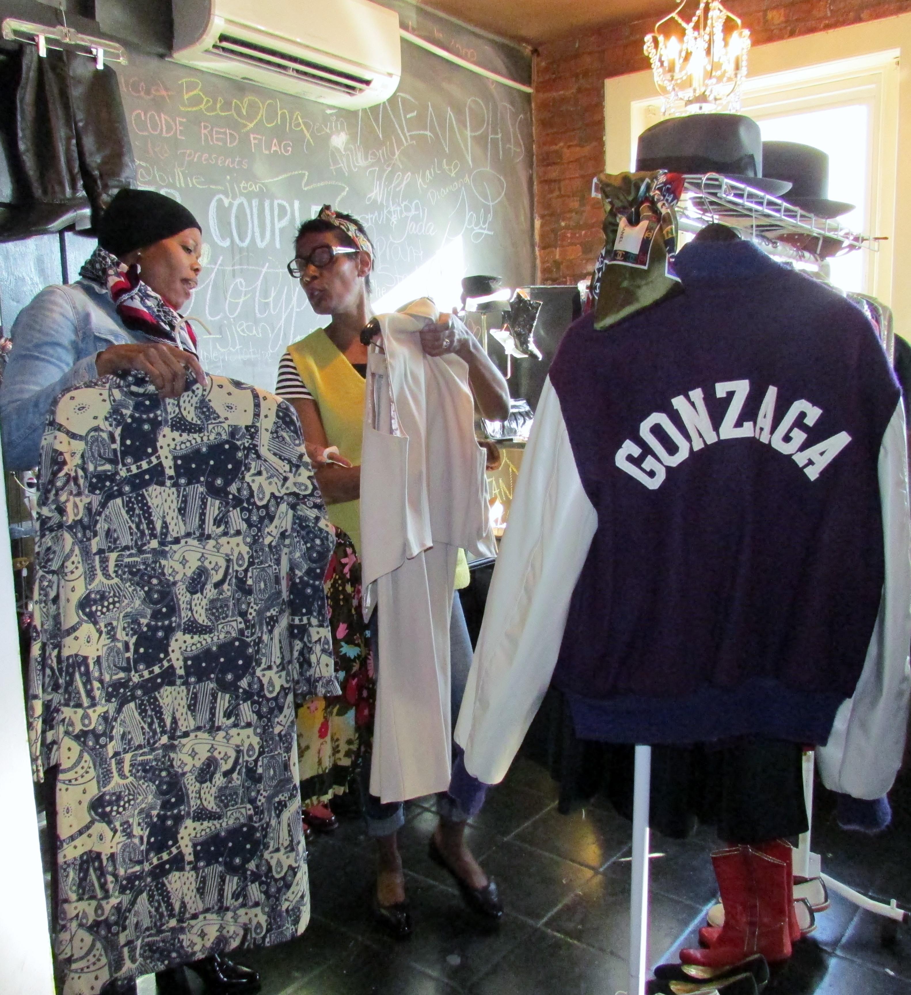 Miss Uesa helps this lady shop vintage