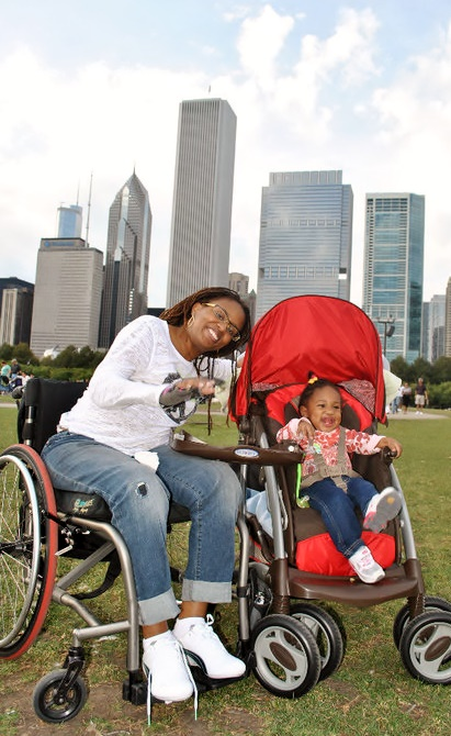 Justice with baby and stroller