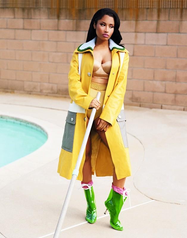 Mui Mui leather coat/knit collar and boots. La Perla silk underwear. Dazed Magazine